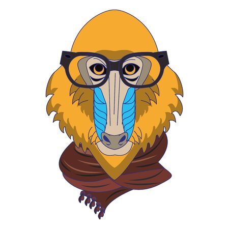 Cool mandrill with glasses and scarf fashion accesories cartoon vector illustration graphic design