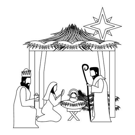 merry christmas nativity christian manger catholic religion december biblical birth of the child jesus scene cartoon vector illustration graphic design