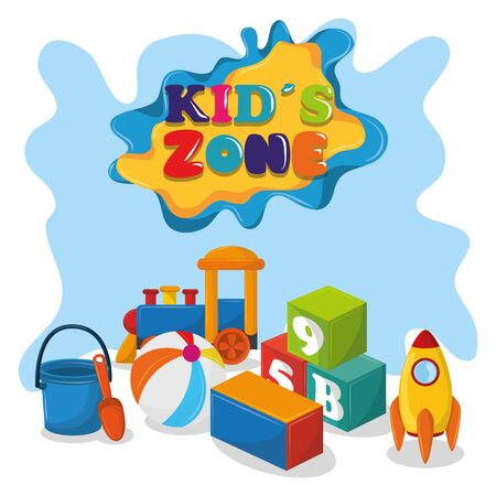 kids zone children entertaiment with toys, train, sand bucket,ball and rocket below a sign icon cartoon vector illustration graphic design Stock Illustratie