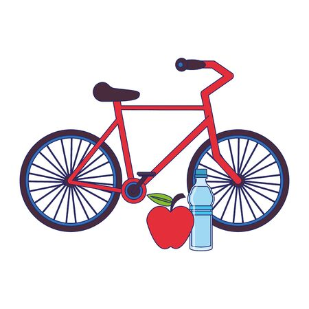 fitness equipment workout health and bicycle with apple water bottle symbols vector illustration graphic design