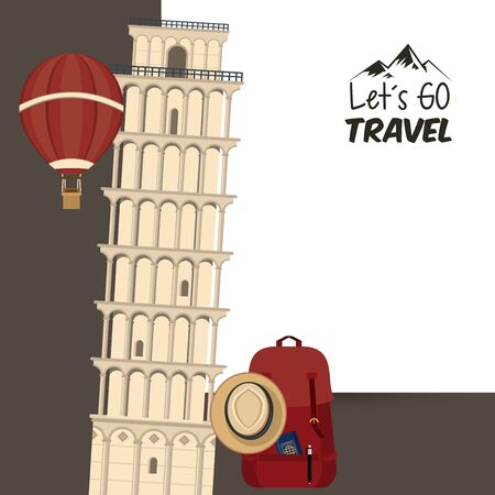 travel journey and tourism places with hot air balloon, panama hat, passport into a bag and tower of pisa with lets go travel sign icon cartoon vector illustration graphic design