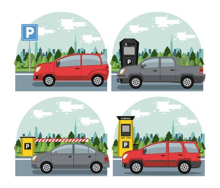 Cars parked in lot with parking meter at city set of emblems. vector illustration graphic design Banque d'images - 130768515