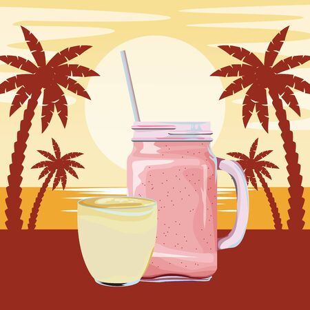 fruit tropical smoothie drink with small cuo, square glass and straw icon cartoon over beach sunset landscape vector illustration graphic design