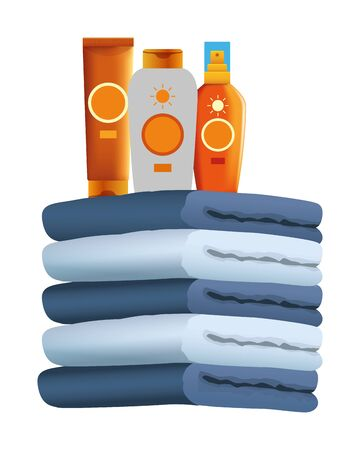 Sun bronzers bottles on towels piled up ,vector illustration graphic design. 일러스트