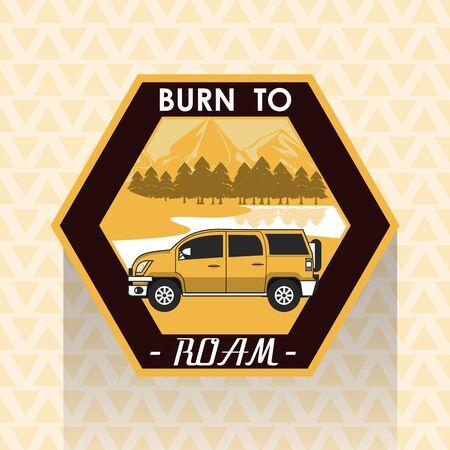 Camping explore summer patch emblem car on highway vector illustration graphic design Stock Illustratie