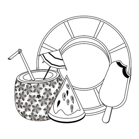 summer beach and vacation with pineapple beverage, watermelon icon cartoons in black and white vector illustration graphic design