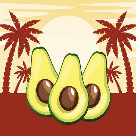 half of avocado icon cartoon in sunny landscape with palms silhouette vector illustration graphic design