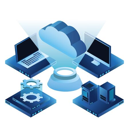 cloud computing technology 3d holographic with laptop database servers monitor and hard disk drive symbol isolated vector illustration graphic design