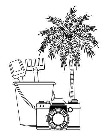 summer beach and vacation with sand bucket with slove and rake toys, photographic camera and palm icon cartoon in black and white vector illustration graphic design