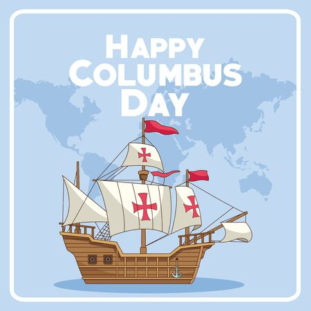 colombus columbus day card with antique navigation tools cartoons, america discovery celebration, travel and history. vector illustration graphic design Illustration