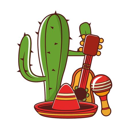 mexico culture and foods cartoons cactus and mariachi guitar and the reattle also mariachi hat vector illustration graphic design Ilustração