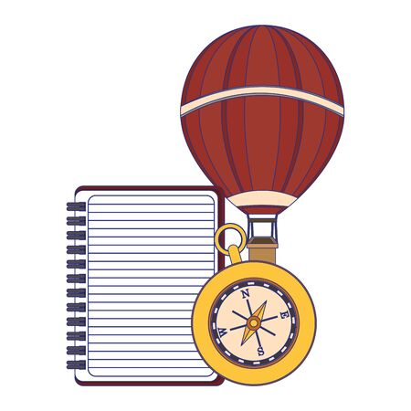 Travel vacations and summer notepad with navigation compass and hot air balloon cartoons
