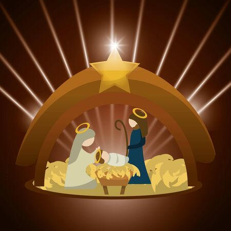 Merry Christmas concept with holy family design, vector illustration graphic.