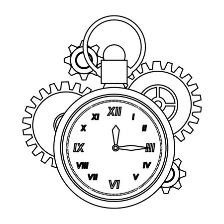 time clock antique classic style watch alarm with gears cartoon vector illustration graphic design Stock Illustratie