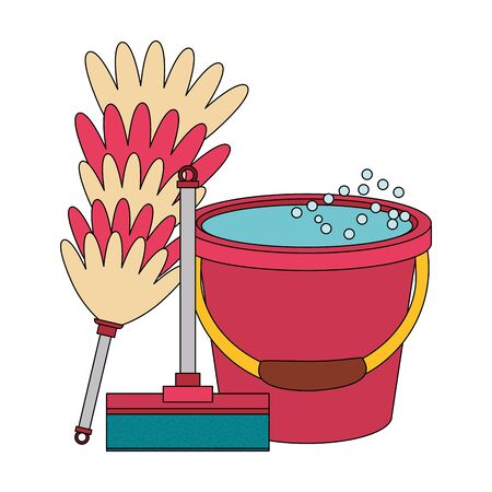Cleaning equipment and products mop with cobweb brush and water bucket vector illustration graphic design.