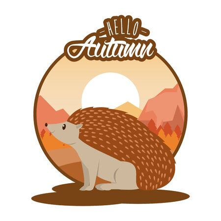 Hello autumn card with cute animal and leaves cartoons, season poster. vector illustration graphic design. Stock Illustratie