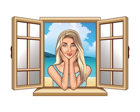 Pop art beautiful blonde woman profile cartoon looking from the window ,vector illustration graphic design.