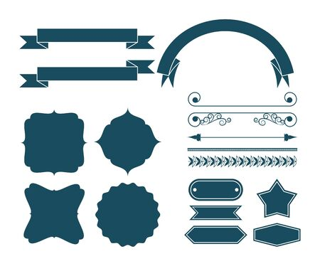 set of decorative ribbon, banner, label, frames and emblems cartoon vector illustration graphic design Banque d'images - 130769006