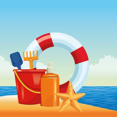 summer beach and vacation with lifebuoy, sand bucket with slove and rake toys and sunscreen jar icon cartoon over the beach with seascape vector illustration graphic design Stock Illustratie