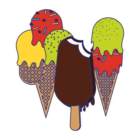 Ice cream cones and chocolate ice cream cartoon vector illustration graphic design Иллюстрация