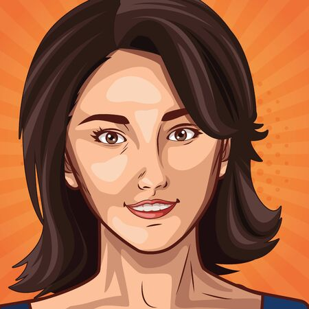 Pop art beautiful woman smiling face on colorful background ,vector illustration. Çizim