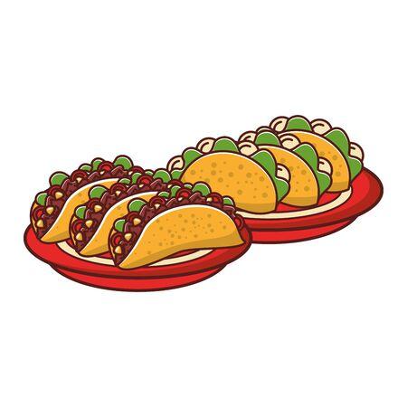 mexico culture and foods cartoons plates with tacos vector illustration graphic design Ilustração
