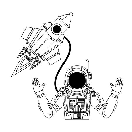 universe space galaxy astronomy science, astronaut with rocket cartoon vector illustration graphic design Ilustrace
