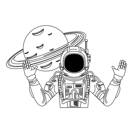 universe space galaxy astronomy science astronaut with planet cartoon vector illustration graphic design Ilustrace