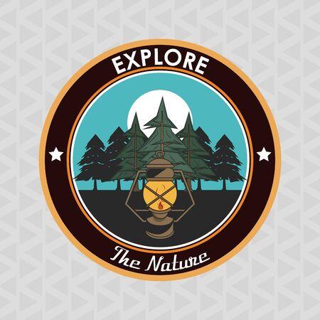 Camping explore summer patch emblem lantern in forest vector illustration graphic design Vektoros illusztráció