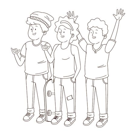 Teenagers friends smiling and greeting with cool clothes and accesories vector illustration graphic design  イラスト・ベクター素材