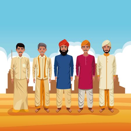 indian men group of india wearing traditional hindu clothes on desertscape scenery vector illustration graphic design