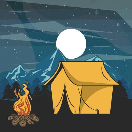 Camping adventure tent and bonfire in forest at night scenery vector illustration graphic design