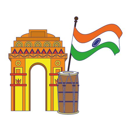 India independence day emblems gateway and drum with flag cartoons vector illustration graphic design