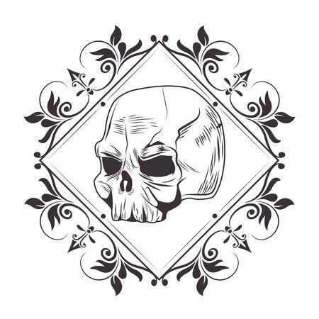 skull head into diamond with flower arrangement drawn in black and white tattoo icon vector illustration graphic design
