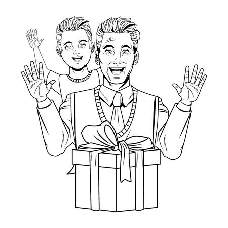 man with sweater tie carrying boy with a gift box wrapped with a ribbon and a bow in black and white vector illustration graphic design.