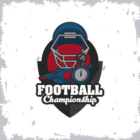 Football sport championship emblem with equipment symbols grunge vintage concept , sport tournament. vector illustration.