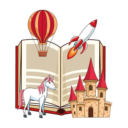 fantasy book with stories character showing a castle, air balloon, sky rocket and unicorn in front of the book vector illustration graphic design