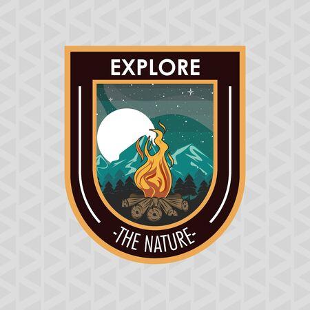 Camping explore summer patch emblem bonfire in mountains vector illustration graphic design Stock Illustratie