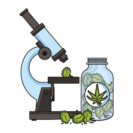 cannabis martihuana medical marijuana medicine sativa hemp buds bottle cartoon vector illustration graphic design