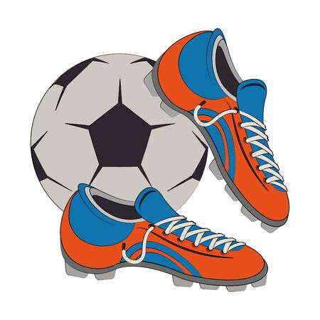 Soccer football sport game ball with boot vector illustration graphic design
