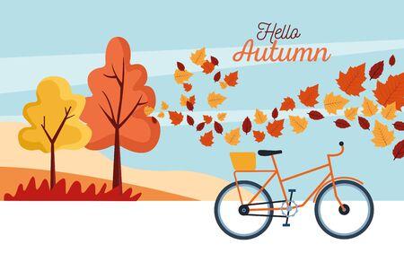 hello autumn season scene with tree and leafs vector illustration design
