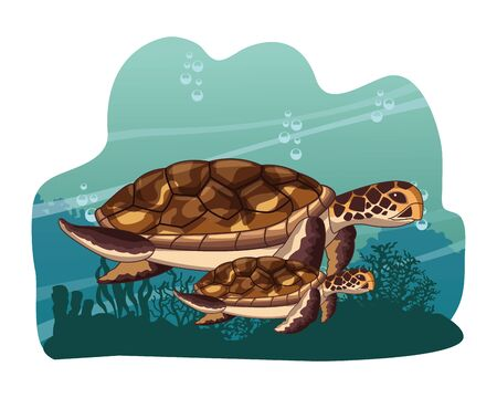 two sea turtle swimming together icon cartoon at the bottom of the sea with underwater vegatation vector illustration graphic design