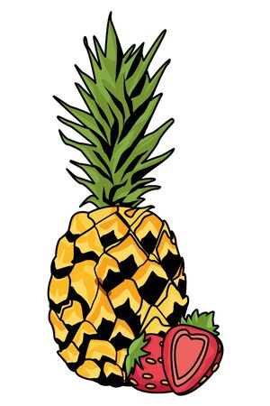 Fresh and delicious tropical pineapple and strawberries fruits vector illustration graphic design