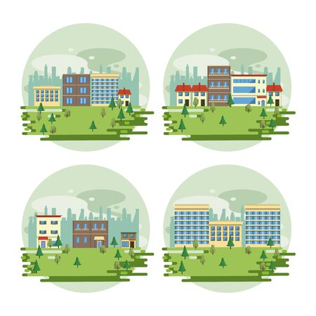 Urban buildings cityscape view set of round scenarios collection isolated vector illustration graphic design