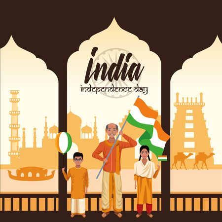India independence day card with indian ethnic people holding flag cartoons on monuments buildings background ,vector illustration. Çizim