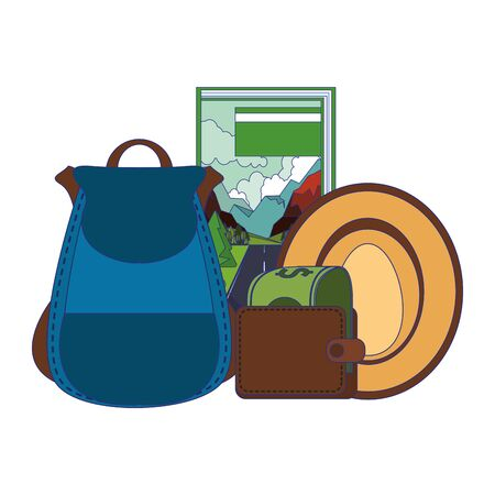 Travel vacations and summer guidebook hat wallet and backpack cartoons vector illustration