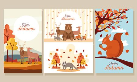 bundle of hello autumn season scenes vector illustration design Stock Illustratie