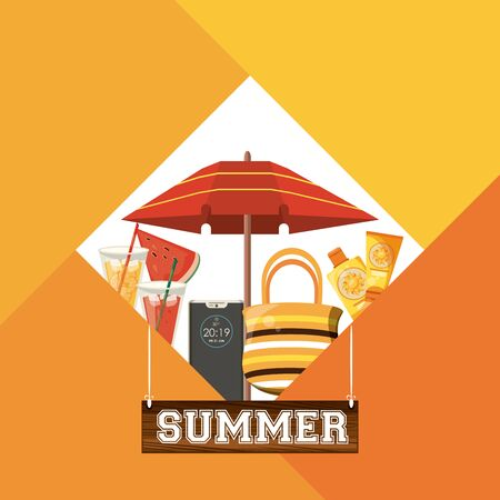 Summer and beach cartoons in rhombus frame over colorful background vector illustration graphic design