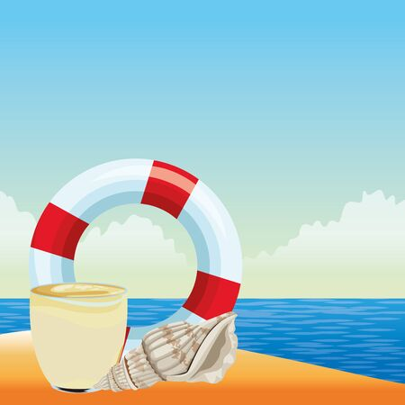 summer beach and vacation with lifebuoy, seashell and smoothie drink icon cartoon over the beach with seascape vector illustration graphic design Stock Illustratie