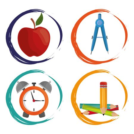 Back to school set of cartoons in round splash frames vector illustration graphic design